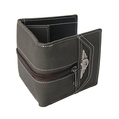 Cerniera Carte Nero Porta Con Faux Portafoglio Mens Boy Di Vintage Trifold Simplelife portamonete 'wallet Grigio Leather Punk Portafoglio Credito wxqvP7U