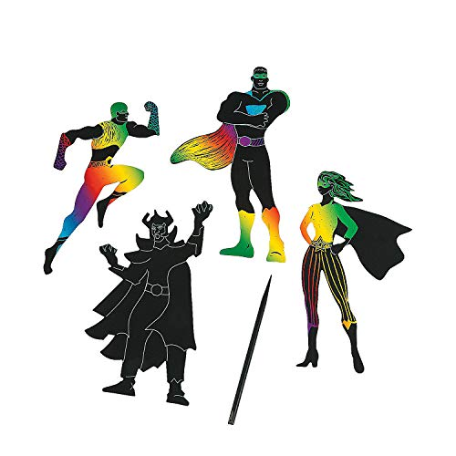 Superhero Magic Scratch - Craft Supplies - Magic Scratch - Ornaments - 24 Pieces ()