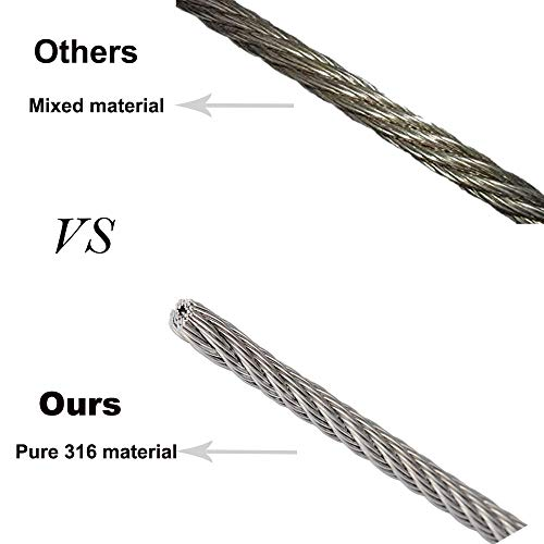 FOLUXING 316 Stainless Steel Wire Rope 1/8'' Aircraft Wire Rope Cable 7x7 for Railing Kit,Decking, DIY Balustrade(164Ft) by FOLUXING (Image #5)