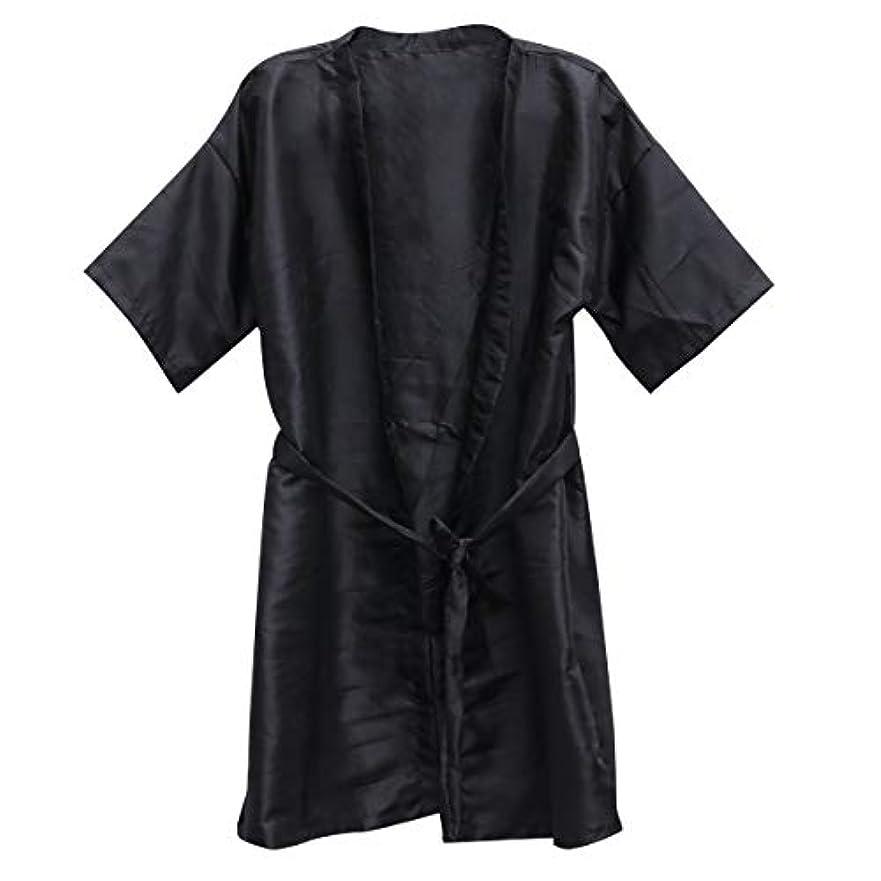 サッカーたぶん線Frcolor 美容院ケープ 理髪エプロン ヘア染めスーツ (ブラック)