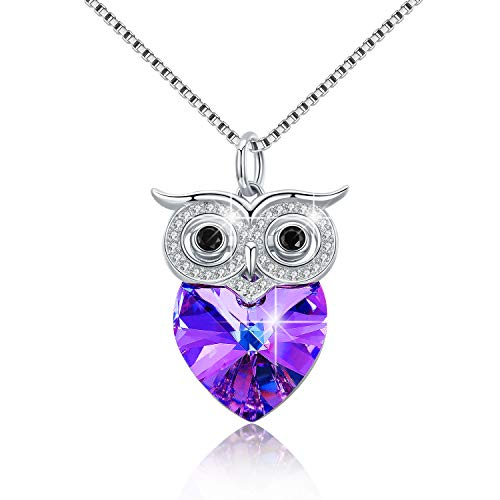 925 Sterling Silver Owl Pendant Necklace Purple Heart Crystal Owl Fashion Jewelry Gift for Women Friend Owl Lovers(18 inch)