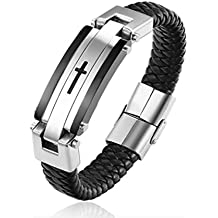 Haosoon Men's Titanium Stainless Steel Jesus Christ Crucifix Cross Lord's Braided Leather Bracelet Bangle