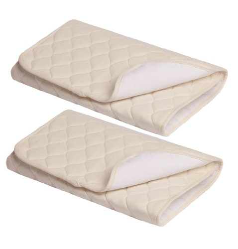 American Baby Company Waterproof Quilted Flat Multi-Use Pad made with Organic Cotton, Natural Color, 2 Count - Vinyl - Mattress Organic Cradle Pad