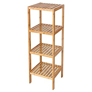 SONGMICS 100% Bamboo Bathroom Shelf 4 Tier Multifunctional Storage Rack  Shelving Unit 38 5/8u0027u0027 X 12 7/8u0027u0027 X 12 7/8u0027u0027 UBCB54Y