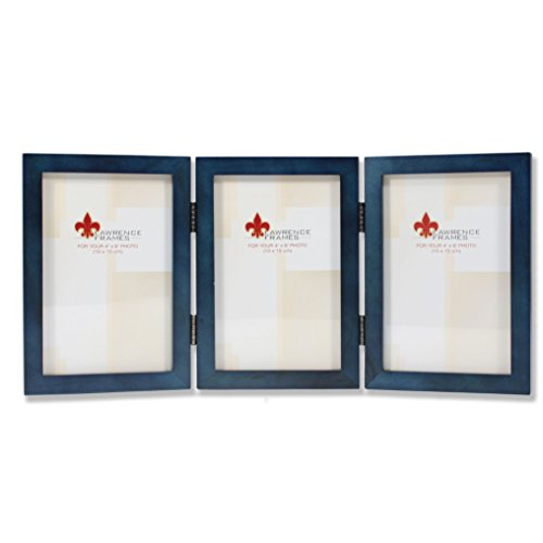 Lawrence Frames Hinged Triple Blue Wood Picture Frame, Gallery Collection, 4 by 6-Inch