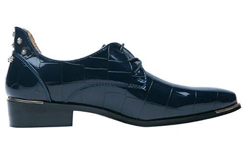 Santimon Oxford Schoenen Mannen Puntschoen Lakleer Veterschoenen Klinknagel Kleding Schoenen Door Blauw