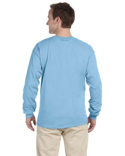 Cycling Light T-shirt - Fruit of the Loom Adult 5 oz. Long-Sleeve T-Shirt, Light Blue, S