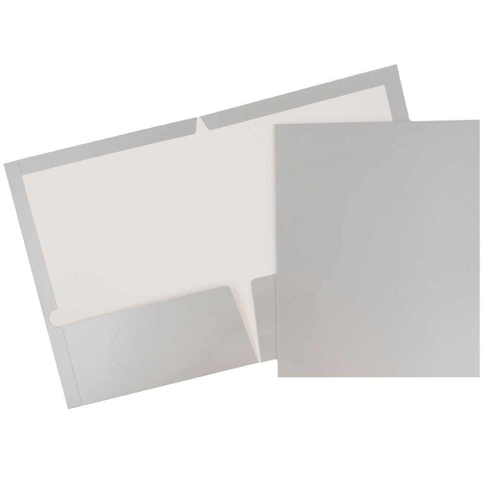 JAM Paper Glossy Two Pocket Presentation Folder - Silver - 100/pack