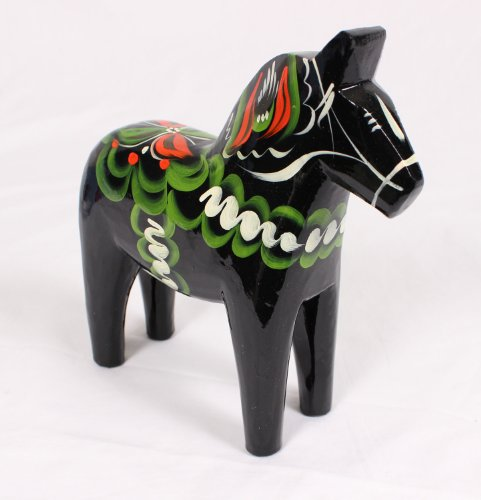 (Traditional Wooden Swedish Dala Horse - Black 6