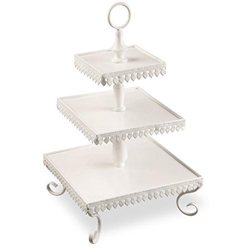 National Tree 21 Inch 3 Tier White Tin Table Serving Piec...