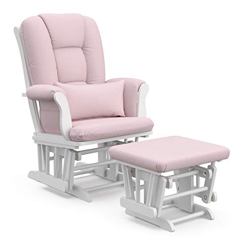 Storkcraft Tuscany Custom Glider and Ottoman with Free Lumbar Pillow, White/Pink Blush Swirl (Cushions And Pink White)