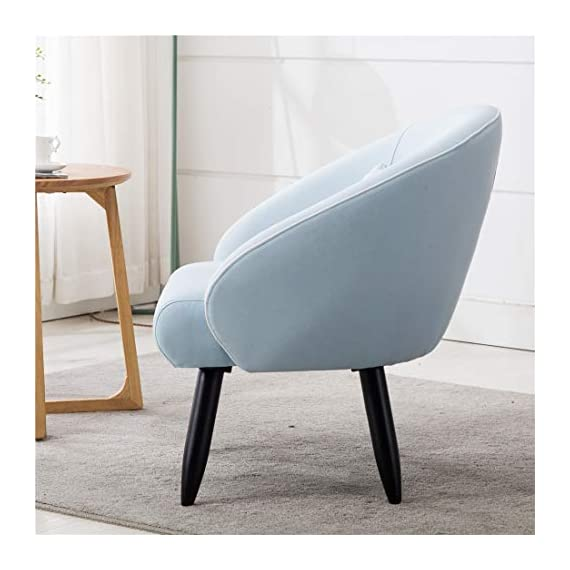 Lansen Furniture Modern Accent Arm Chair Leisure Club Seat with Solid Wood Legs (Light Blue) - A great addition to any room, this versatile accent chair is sure to be a conversation piece. It features eye catching Minimalist Style design with distinctive slanted arms and sturdy hardwood legs. Solid hardwood frame match the soft Brush linen fabric. Dimensions :30''W*28''D*31''H Seat:22.5''W*20.5''D*18''H - living-room-furniture, living-room, accent-chairs - 41qYlO%2BjKZL. SS570  -