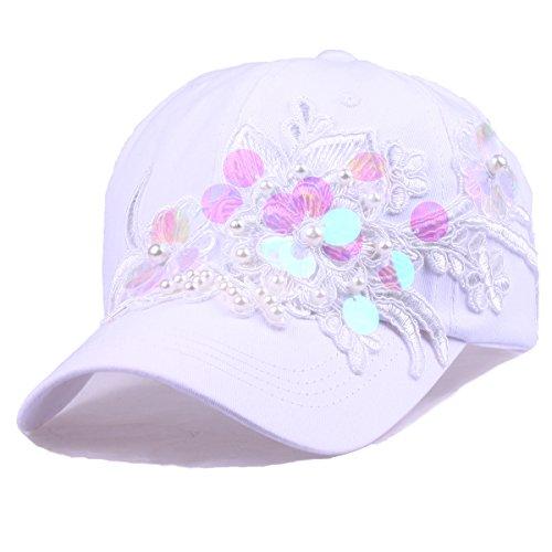 (Women 's Sequins Flower Baseball Cap Cotton Sun Hat Rhinestone Snapback Hip Hop Hat (Sequins White))
