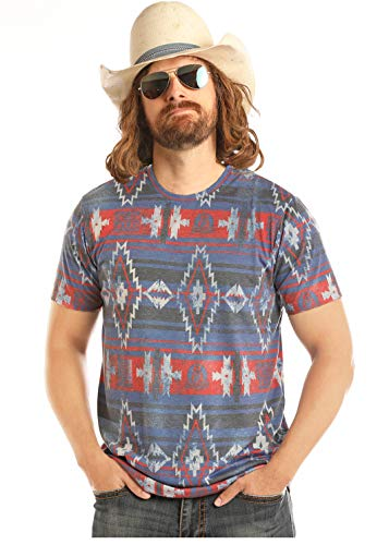Rock and Roll Cowboy Mens Dale Brisby All Over Aztec Tee XL Blue