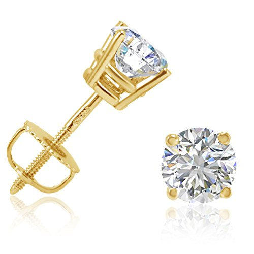 Amanda Rose Collection AGS Certified 1ct Total Weight Diamond Stud Earrings in 14K Yellow Gold with Screw Backs ()
