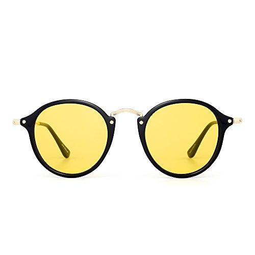 JIM HALO Retro Polarized Round Sunglasses for Women Vintage Small Mirror Glasses (Shiny ()