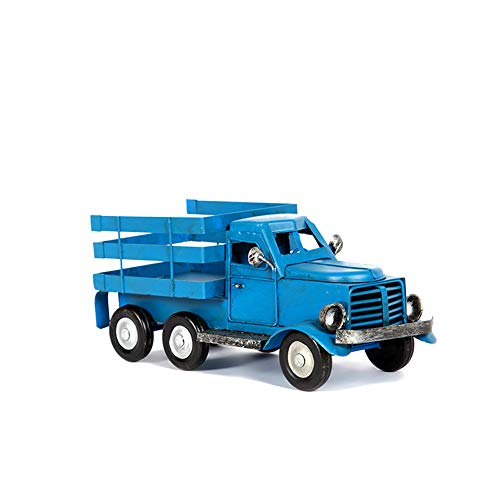 Ayiguri Metal American Truck Car Model Retro Vintage Iron Car Models Handmade Classic Decoration Photography Props (Blue)