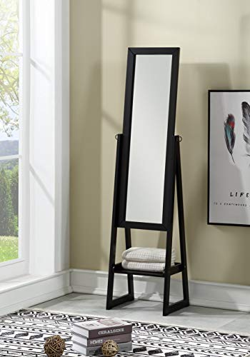 (eHomeProducts Solid Wood Cheval Floor Standing Tilting Mirror with Bottom Shelf, Black Finish)