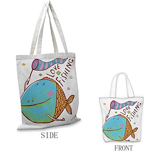 Fishing Shopping bags can be reused Kids Cute Large Fat Fish Holding a Flag with Love Quote Humor Fun Nursery Theme Used as a grocery bag in the market W15.75 x L13.78 Inch Multicolor