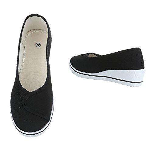 Damen Schuhe Pumps Keil Wedges Schwarz Schwarz