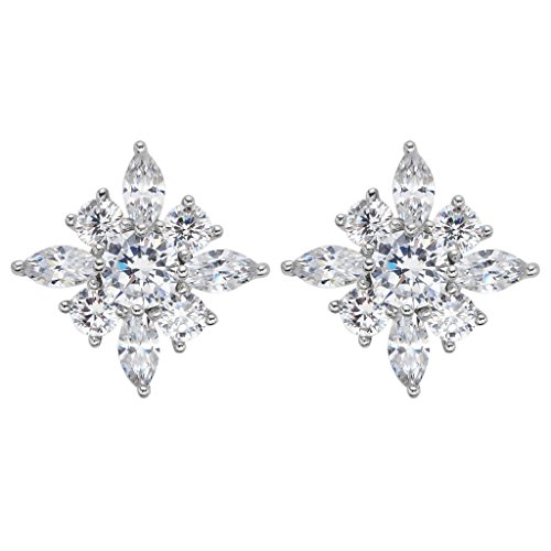 EVER FAITH 925 Sterling Silver Cubic Zirconia Gorgeous Marquise Shape Flower Stud Earrings Clear (Marquise Stud Zirconia Cubic)