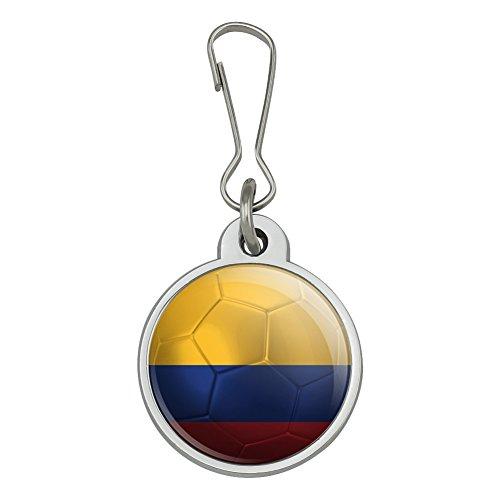 Colombia Flag Soccer Ball Futbol Football Jacket Handbag Purse Luggage Backpack Zipper Pull Charm