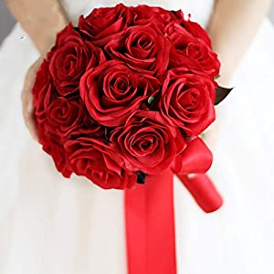 Red Wedding Bouquet Artificial Rose Flowers Bride Bridal Bouquet Red Rose Flower Bridesmaids Bouquet Holding Flowers Decor 4