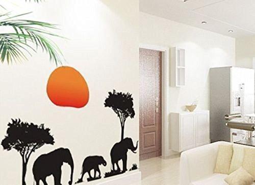 (African Elephant Sunset Tree Art Wall Sticker Decals Home Decor Kids Nursery Mural Peel and Stick)