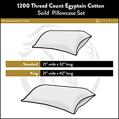 Superior 1200 Thread Count 100% Egyptian Cotton, Soft and Breathable, 2-Piece King Pillowcase Set Solid, Ivory: Home & Kitchen