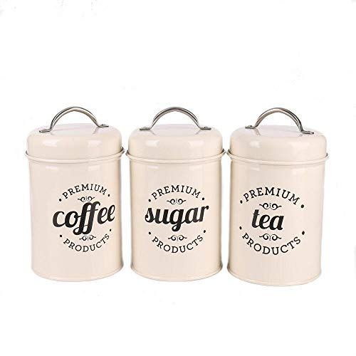 (Hot Sale X021B Set of 3 Metal Food Storage Tin Canister/Jar with Lid (Ivory) )