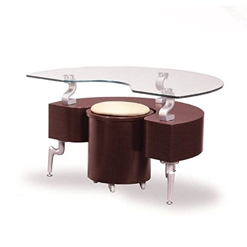 Global Furniture USAT288 Mahogany Occasional End Table with Silver Legs