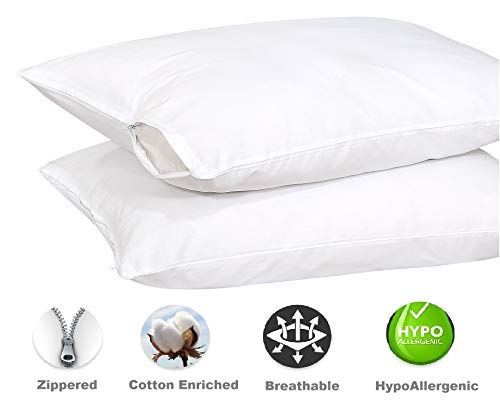 ZainiTex Inc Dust Mite Pillow Cover,Breathable Pillow Protector ❤️ Reduces Allergy ❤️ and Bacterial Resistant Pillow Case Covers. Ruvanti 2 Pack Zippered Pillow Protectors Whit Pillow Cases Standard 20 26