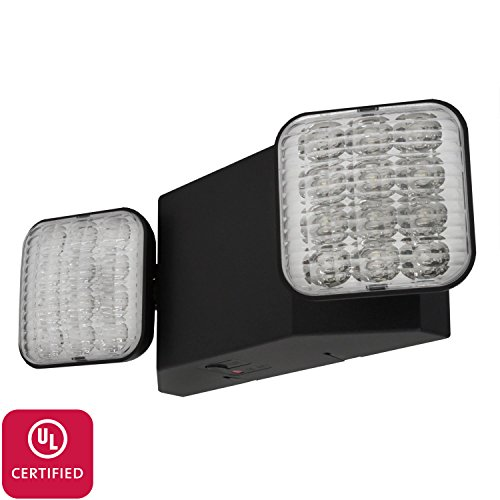 Black Emergency Lights (LFI Lights - UL Certified - Hardwired LED Emergency Egress Light - Black Housing - ELB2)