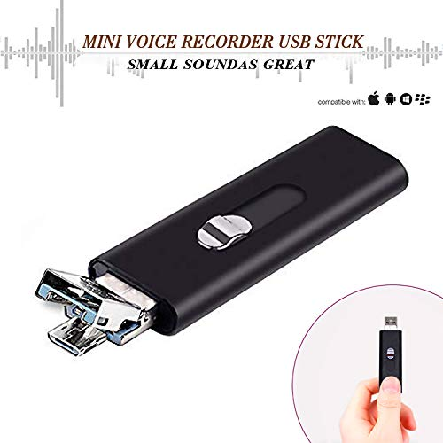 Slim Mini Voice Activated Recorder - Listening Devices USB Flash Drive,22 Hours Battery,8GB - 94 Hours Capacity,Easy to Use USB Memory Stick Sound Recorder lightREC