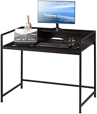 Kealive Computer Desk 2 Tier Office Desk with Adjustable Legs, 43 Inch Small Computer Table Metal Writing Desk with Raised Shelf, Gaming Desk for Studio Home Office, Black Walnut