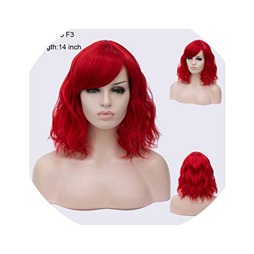 43 Colors Synthetic Short Wavy Wigs With Bangs For Womens Black Brown Natural Hair Full Wigs Hairstyles,SW 2438 F3,12inches