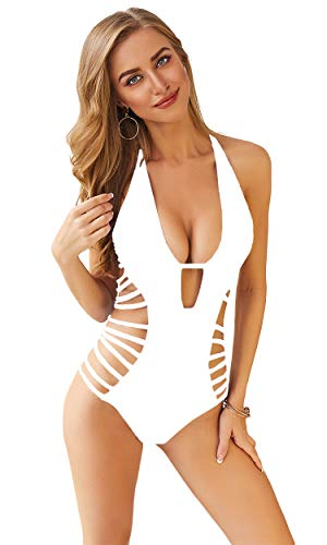 Carprinass Women's Summer Solid Color Bathing Suits Tie Halter Bikini White L