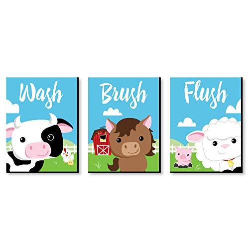 Farm Animals - Barnyard Kids Bathroom Rules Wall Art - 7.5