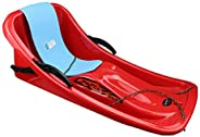 Winter Snow Sled,86cm Durable Downhill Sprinter Toboggan Snow Sled for Kids Boys Girls Adults with Brakes &