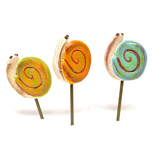 - Miniature Fairy Garden Snail Picks, Set of 3