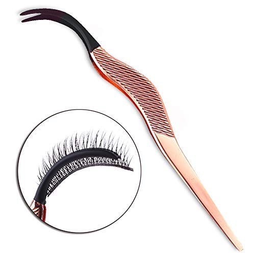 FAMILIFE False Eyelashes Applicator Tool Portable Eyelash Extension Tweezers Stainless Steel Remover Clip Nipper Rose Gold