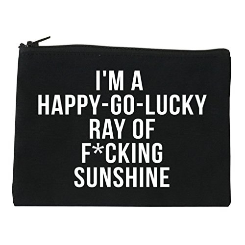 Happy Go Lucky Cosmetic Makeup Bag Black Small