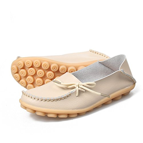 Soft Shoes Boat Union Leather Slip Casual Flat Loafers Beige Make on Driving Women's Force Ally xIvqnw1OFO