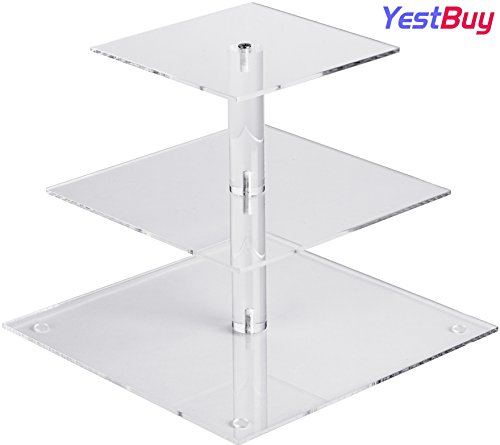 YestBuy 3 Tier Clear Square Acrylic Tree Cupcake Tower