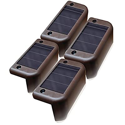 MAXSA Solar Step & Deck Railing Lights (4-Pack), Dusk to Dawn Outdoor Accent Lighting, Brown 47332