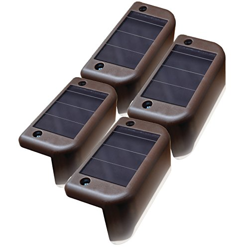MAXSA Solar Step & Deck Railing Lights (4-Pack), Dusk to Dawn Outdoor Accent Lighting, Brown 47332 (Accent Deck Solar Lights)