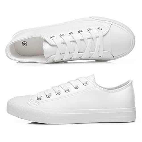 Women's White PU Leather Sneakers Low Top Tennis Shoes Lace up Casual Walking Shoes