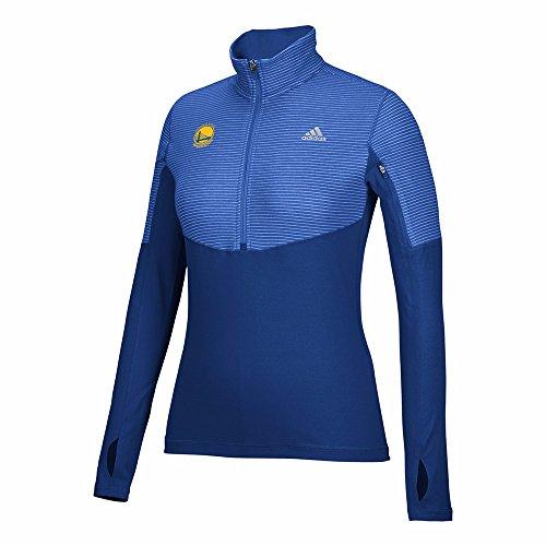 adidas Golden State Warriors NBA Blue Lightweight Climalite Half Zip Team Logo Pullover Jacket For Women (L)