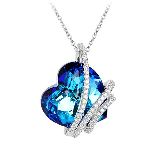 Amazon Lightning Deal 95% claimed: EleQueen 925 Sterling Silver CZ Heart of Ocean Titanic Inspired Pendant Necklace Adorned with Swarovski® Crystals