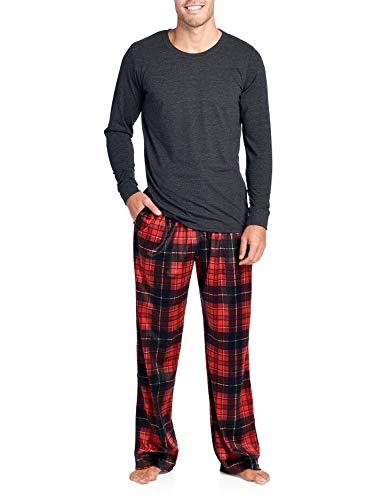 Ashford & Brooks Men's Jersey Knit Long-Sleeve Top and Mink Fleece Bottom Pajama Set - Red/Black Plaid - 2X-Large (Shirt Pants Pajamas)